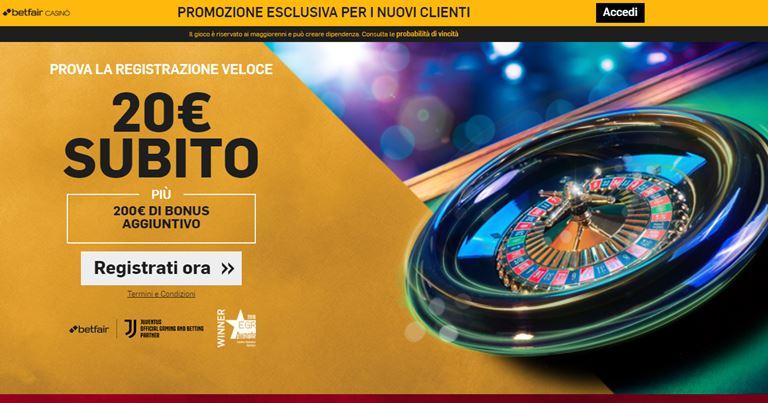 Betfair Bonus Benvenuto Casino'